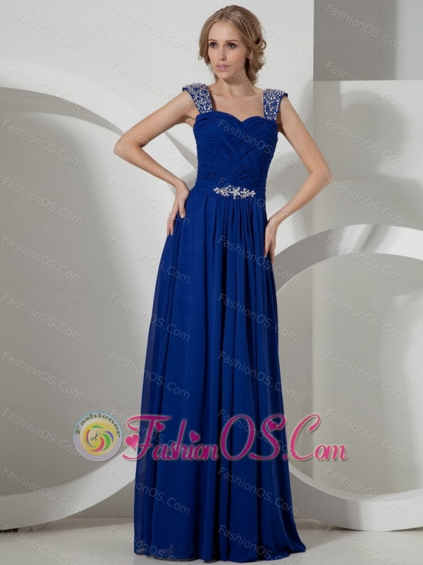 Beaded Decorate Straps Peacock Blue Empire Prom Dress Chiffon- $145.03