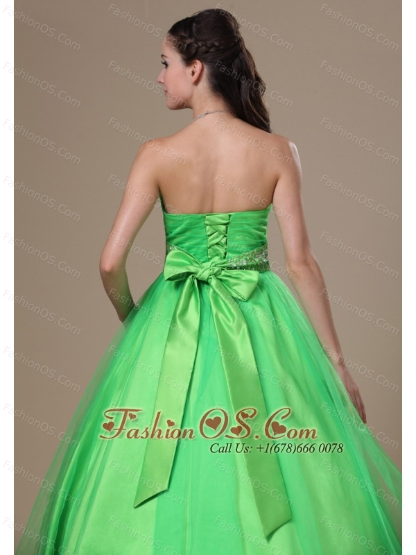 Beaded Decorate Waist A-line Spring Green Floor-length Sweetheart Neckline Prom / Evening Dress For 2013