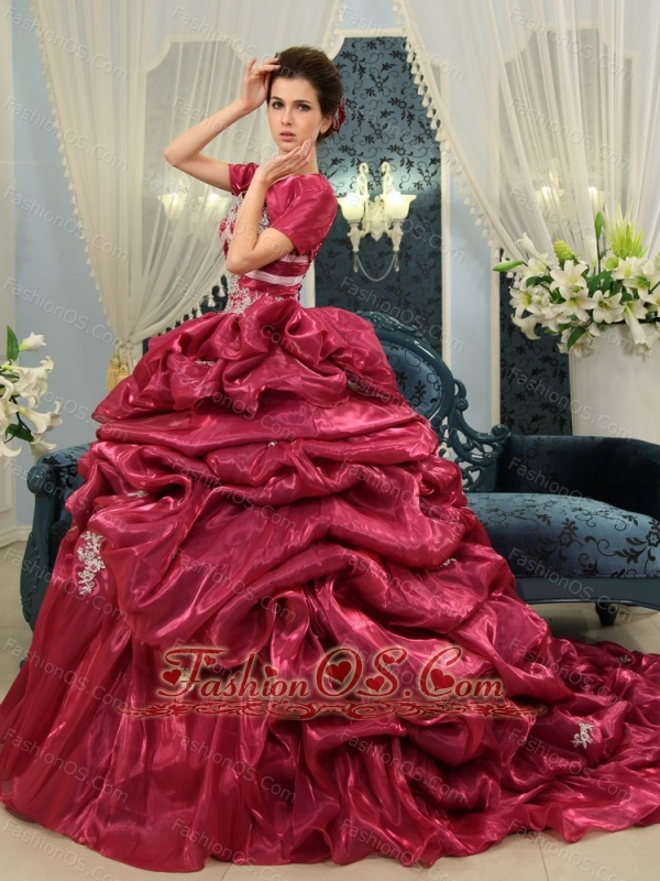 Beading Ball Gown Spaghetti Strap Chapel Train Organza Fuchsia Quinceanera Dress