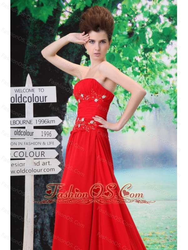 Beading Decorate Bodice Strapless Court train 2013 Prom / Evening Dress