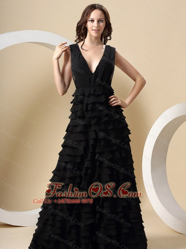 Ruffle Deep V-Neck Gown