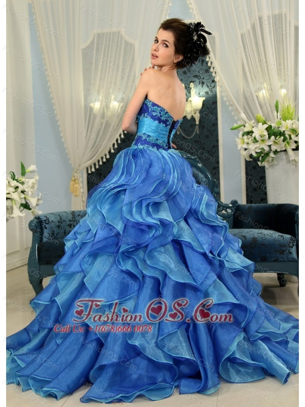 Blue Appliques A-line Organza Strapless New Designer Quinceanera Dress For 2013