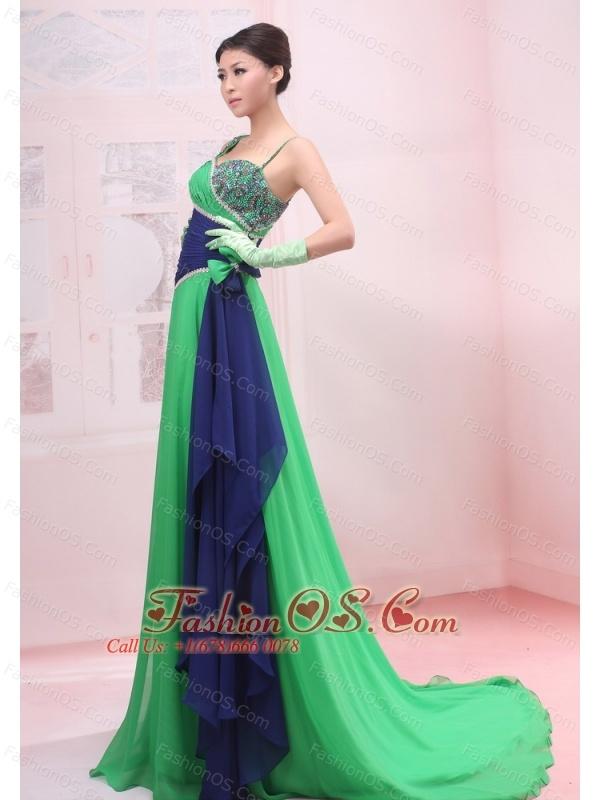 Bowknot Empire Strapless Chiffon Green Brush / Sweep Prom Dress