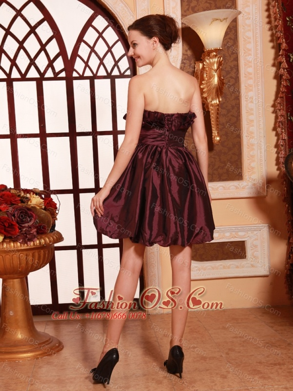 Burgundy Strapless Taffeta Beaded A-line Prom Gowns Custom Made