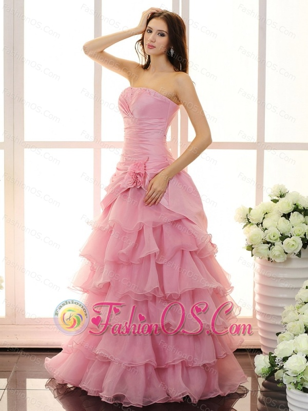 Custom Made For Prom Dress With Hand Made Flowers and Ruffled Layers