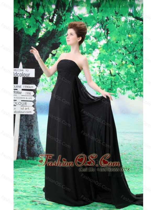 Custom Made Prom Dress With Strapless Court Train Ruch and Chiffon
