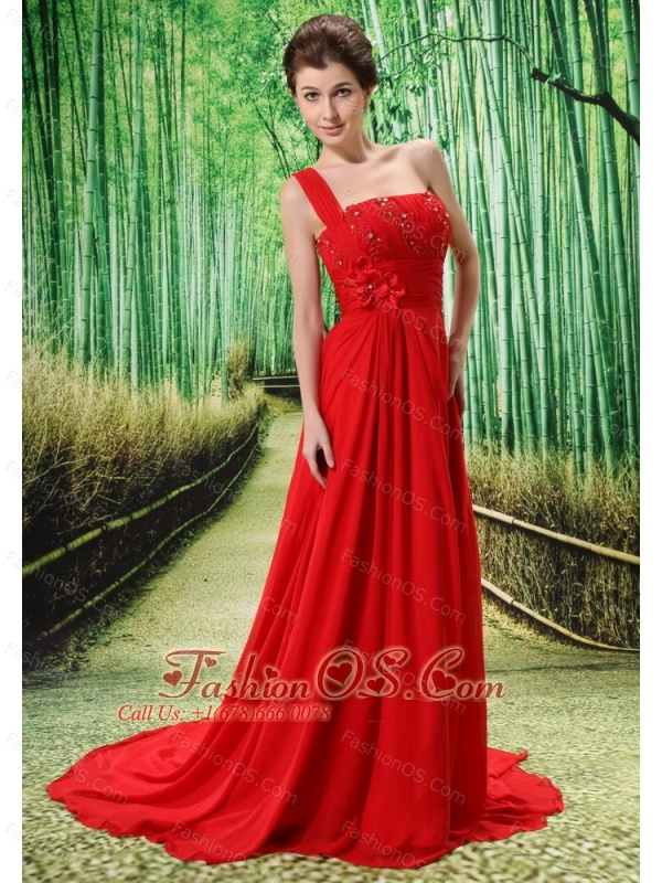 Custom Made Red One Shoulder Appliques Prom Dress Beaded Decorate Bust In Formal Evening
