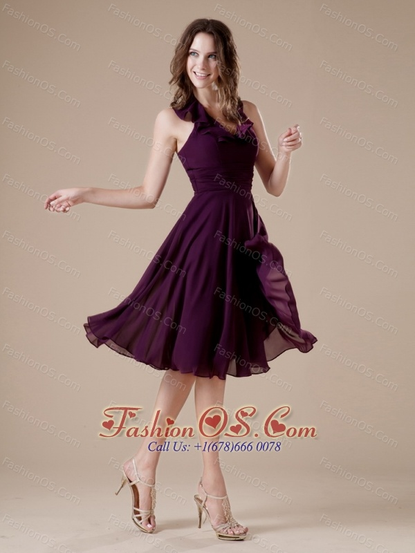 Dark Purple Elegant Halter Bridesmaid Dress Chiffon