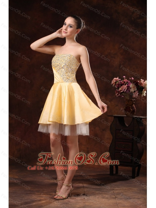 Gold Beaded Knee-length A-line Cocktail / Homecoming Dress For Custom Made