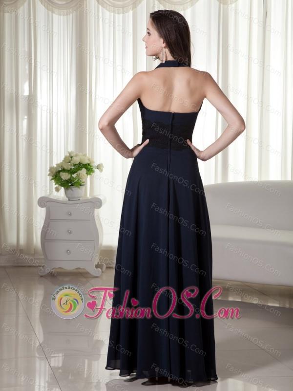 Halter Column / Sheath Chiffon Lace Prom Dress Navy Blue Floor-length