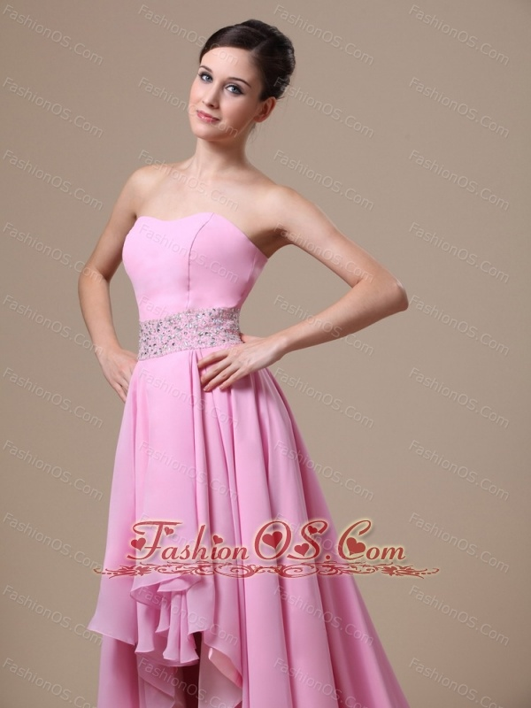 High-low Baby Pink and Beaded Decorate Waist For Prom / Evening ...