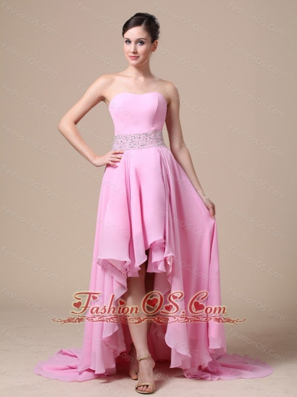 High-low Baby Pink and Beaded Decorate Waist For Prom / Evening Dress