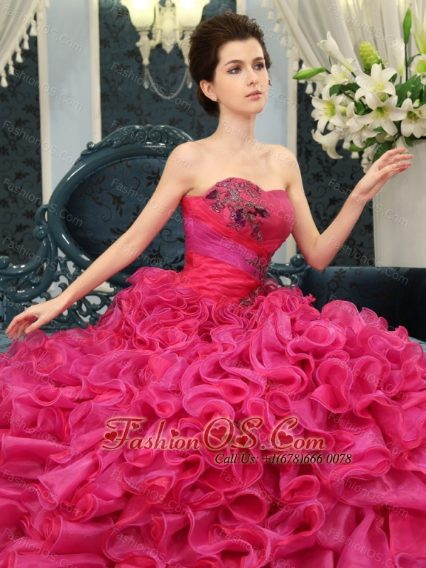 Hot Pink Sweetheart Ruffles Court Train Designer 2013 New Styles Quinceanera Dress For Custom Made