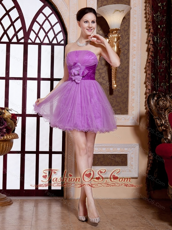 Lavender Strapless Hand Made Flowers Tulle Mini-length Cocktail Stylish Prom Gowns