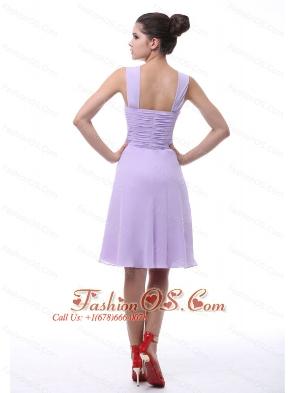 Lavender Straps Prom Dress With Beaded and Ruch Decorate Knee-length