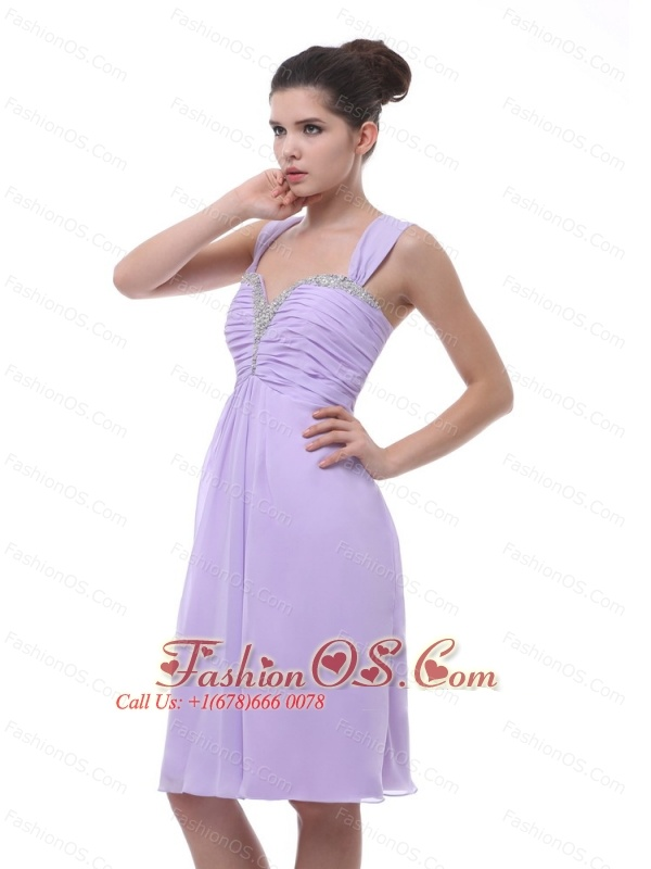 Lavender Straps Prom Dress With Beaded and Ruch Decorate Knee-length ...