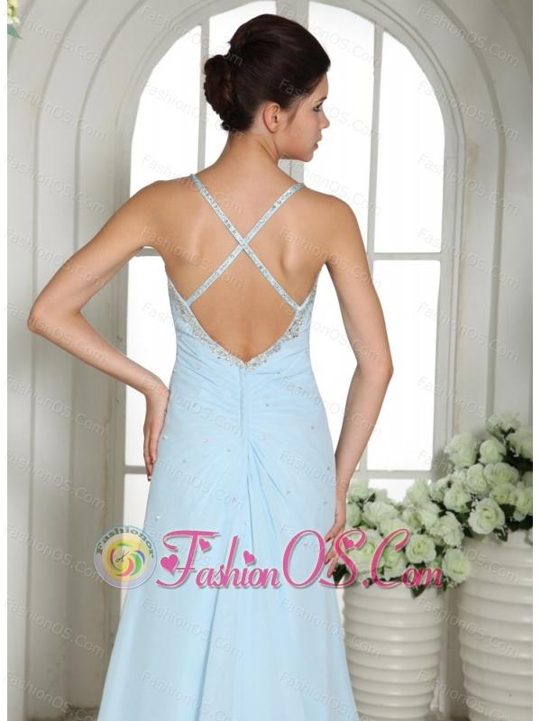 Light Blue High Slit Spaghetti Straps Beaded Over Bodice Prom Dress With Brush Train