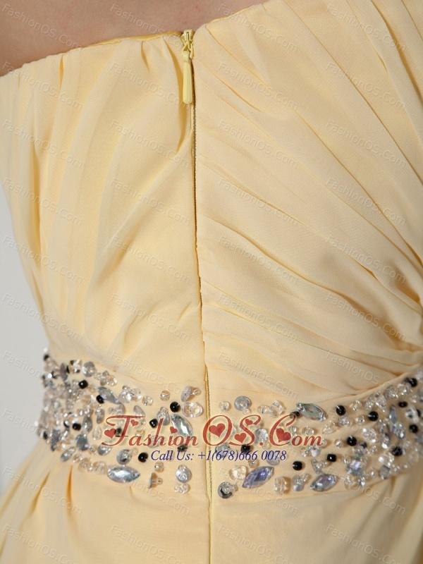 Light Yellow High Slit and Beaded Decorate Waist Prom Dress