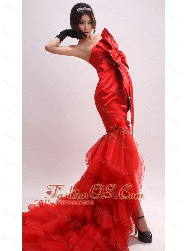 Mermaid Bowknot and Appliques For 2013 Prom Dress