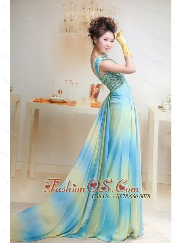 Ombre Color Chiffon Bateau Court Train Prom / Evening Dress For Custom Made