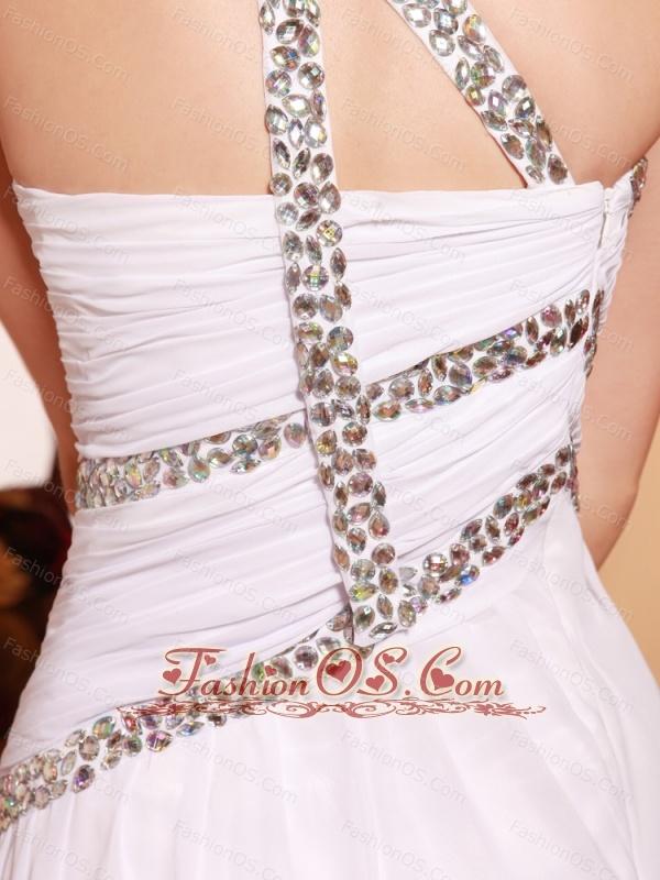 One Shoulder Chiffon Brush High Slit Stylish Prom Gowns Custom Made