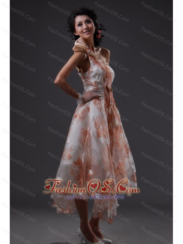 One Shoulder Empire Beading Tea-length Prom Dress