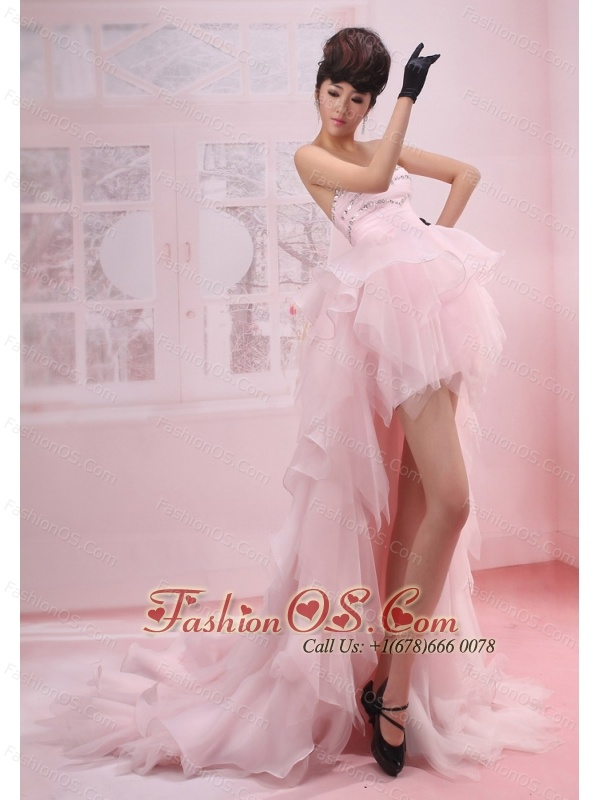 Pink A-Line / Princess Beading Organza Cocktail Sweetheart Prom Dress