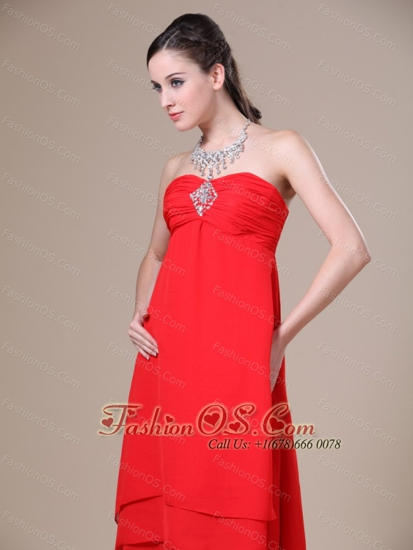 Red High-low Ruched Decorate Bust For 2013 Prom Dress With Beading