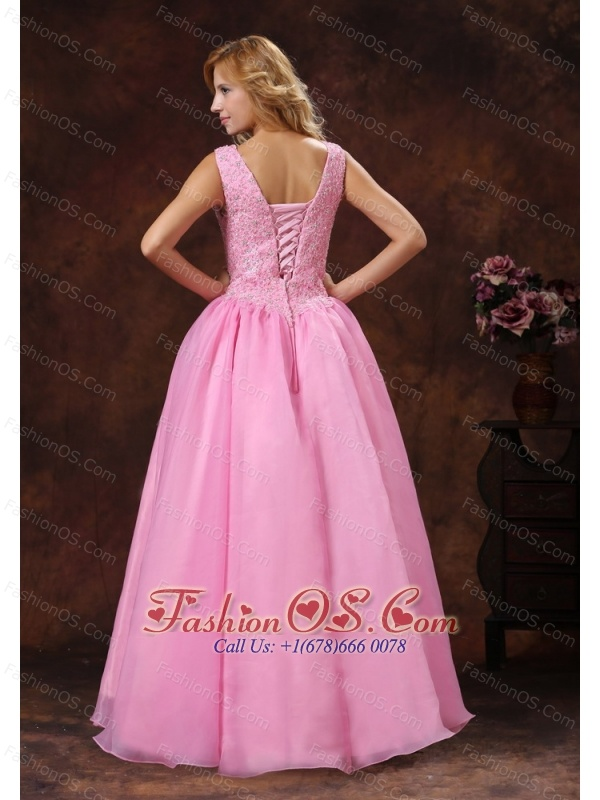 Rose Pink Wide Scoop Lace-up Princess Prom Dress For Party ...