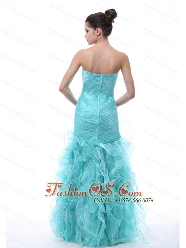 Ruched and Ruffles Decorate Bodice Mermaid Floor-length Light Blue Organza 2013 Prom / Evening Dress