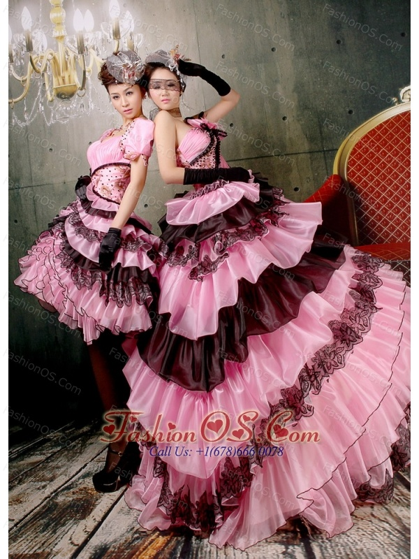 Ruffled Layers Hand Made Flowers Beaded For Baby Pink And Black Quinceanera Dress