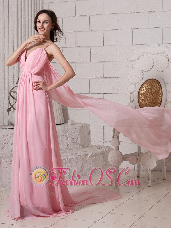 Spaghetti Straps Baby Pink Watteau Train Prom Gowns With Chiffon For Custom Made