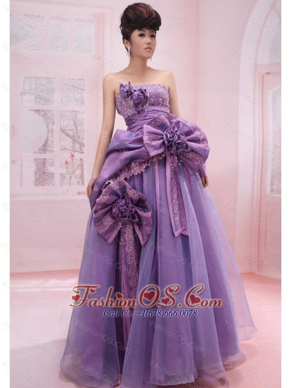 Strapless Organza Beading and Handle-Made Flowers Lilac 2013 Prom ...