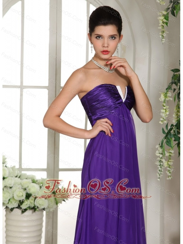 Stylish V-neck Eggplant Purple 2013 Prom Celebrity Dress With Ruch