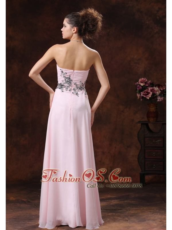 Sweetheart Baby Pink For 2013 Prom Dress With Appliques Decorate Waist