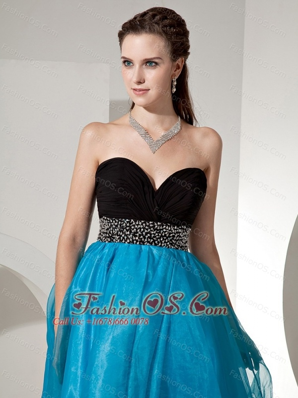 Sweetheart Beaded Decorate Waist For Black and Blue Prom / Cocktail Dress