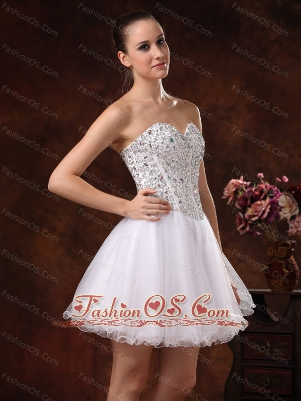 Sweetheart Beaded Mini-length For White Cocktail / Homecoming Dress