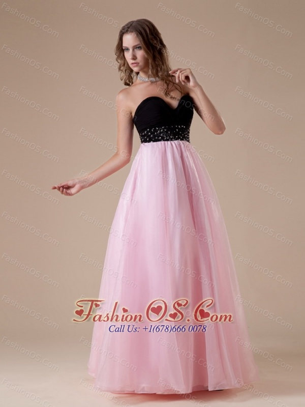 Sweetheart Neckline Beaded Decorate Waist Black and Pink Organza A-line Floor-length 2013 Prom / Evening Dress