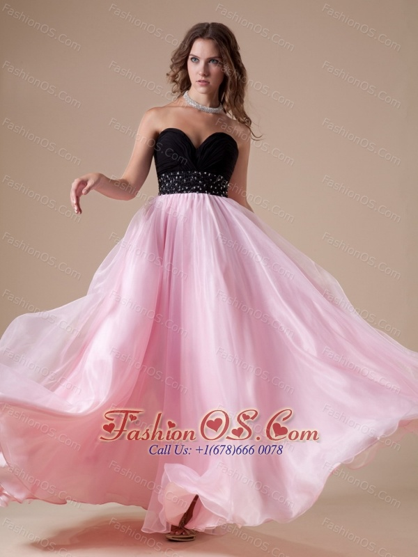 Sweetheart Neckline Beaded Decorate Waist Black and Pink Organza A ...