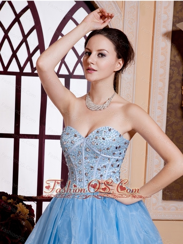 Sweetheart Organza Beaded Decorate Bodice Mini-length Light Blue Cocktail Prom Gowns