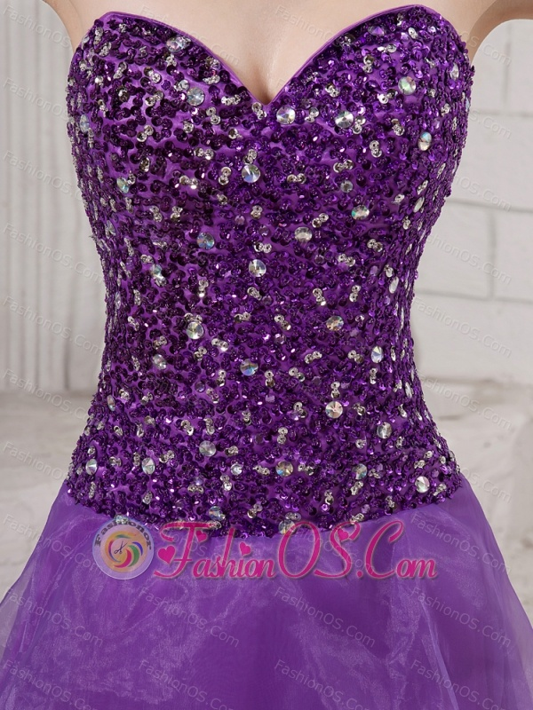 Sweetheart Purple Sweep Train A-line Ruffles Organza Custom Made 2013 Prom Gowns