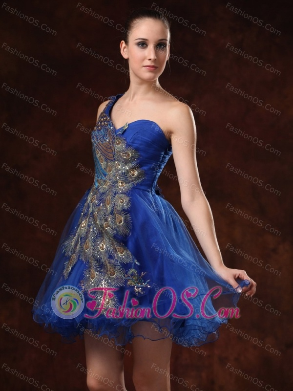 Unique One Shoulder Embroidery Mini-length For Royal Blue Cocktail / Homecoming Dress
