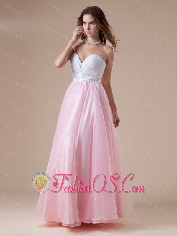 White and Baby Pink Sweetheart Beaded Decorate Waist Prom Dress For ...