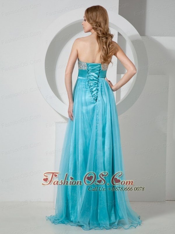 2013 Aqua Blue Sweetheart Beaded Brush Train Prom / Evening Dress For Custom Made