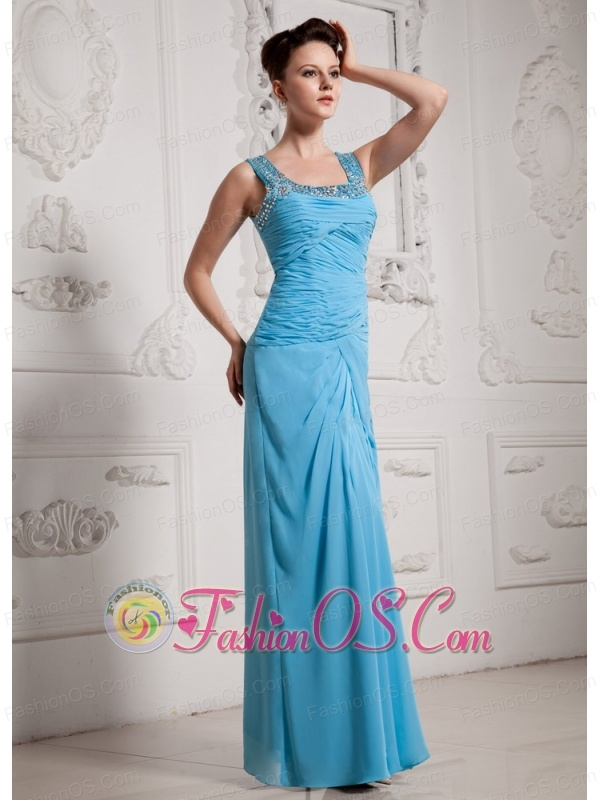 2013 Baby Blue Square Ruch and Beading Prom Celebrity Dress
