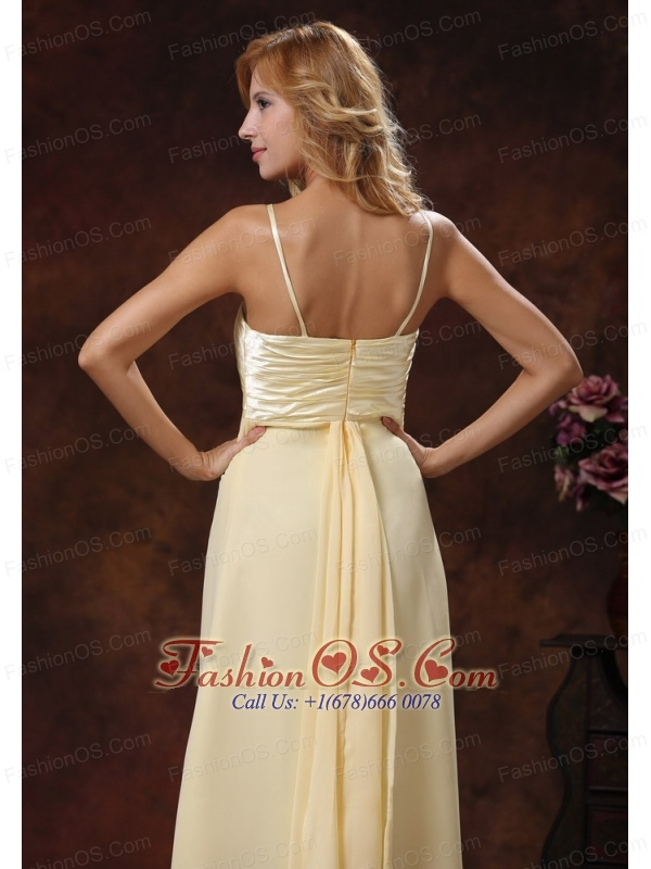 2013 Light Yellow Straps Ruched Bodice Discount Prom Dress Floor-length