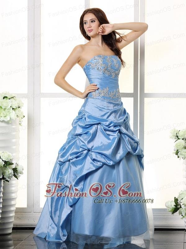 Aqua Blue Appliques Bodice and Pick-ups For Prom Dress
