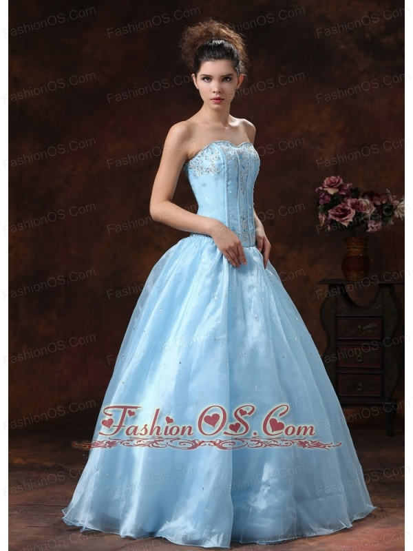Baby Blue Appliques Bodice and Sweetheart For Prom Dress