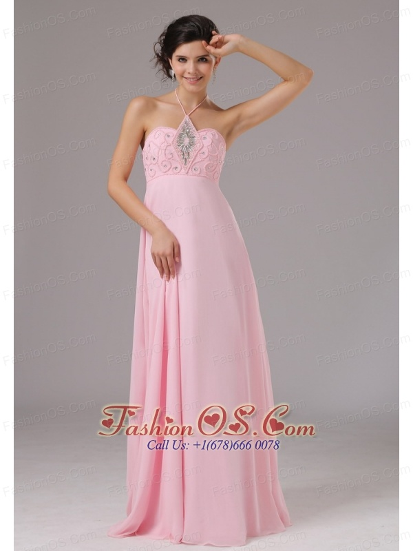 Baby Pink Halter and Beaded Decorate Bodice For 2013 Prom Dress