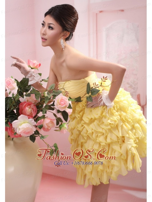Beading and Ruch Decorate Bodice Ruffles Knee-length 2013 Prom Dress